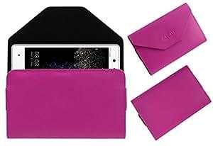 Acm Premium Pouch Case For Videocon Z55 Dash Flip Flap Cover Holder Pink