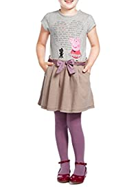 3 Piece Cotton Rich Peppa Pig Dress & Tights Outfit [T77-6548J-Z]