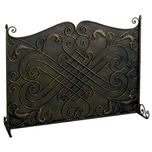 Antique Black And Gold Solid Fireplace Screen