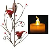 AGPtek 6pcs Battery Operated Amber Yellow LED Tea Light Candle - Flashing Batteries included