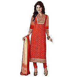 Rozdeal Women Georgette Embroidered Unstitched Half Sleeve Dark Orange Anarkali Suit