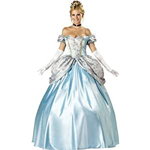 Ladies Sexy Deluxe Cinderella Full Length Adult Fancy Dress Costume Outfit (Women: 6-8)