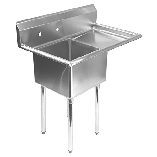 Gridmann 1 Compartment NSF Stainless Steel Commercial Kitchen Prep & Utility Sink w/ Drainboard - 30 in. Wide
