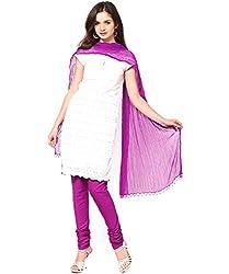 MemSahiba Women Plain Cotton Chudidaar Dupatta Combo (MS-1380_Magenta)
