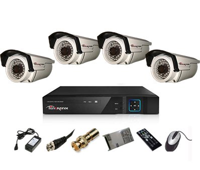 Tentronix T-4ACH-4-BA10 4-Channel AHD Dvr, 4(1MP/36IR) Bullet Cameras (With Accessories)