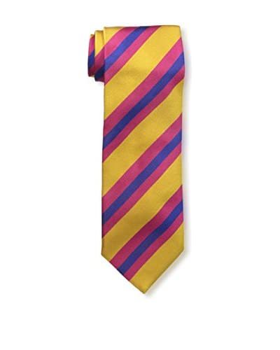 J.McLaughlin Men's Diagonal Striped Silk Tie, Gold/Purple