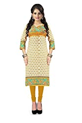 Vaamsi Women's PolyCotton Unstitched Kurti Fabric(KFC47_Yellow_Free Size)