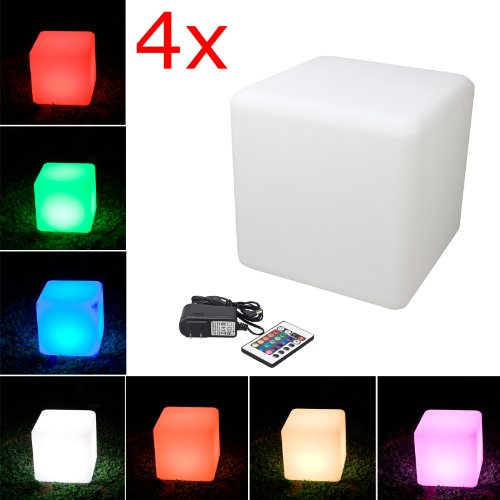 "Loftek® Outdoor/Indoor Rechargeable Led Light, Cordless With Rgb Colorful Changing Remote Control Changing. (Cube 16"") (4-Pack)"