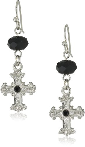 The Vatican Library Collection Silver-Tone Black Cross Drop Earrings