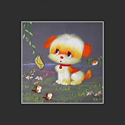 King Silk Art 100% Handmade Embroidery Puppy with a Letter Chinese Print Framed Wildlife Animal Painting Gift Oriental Asian Wall Art D¨¦cor Artwork Hanging Picture Gallery 34181B