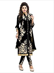 Women's Cotton Unstitched Dress Material (Black Kurti type dress)