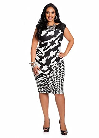 Ashley Stewart Women's Plus Size Faux Leather And Houndstooth Dress Black 16