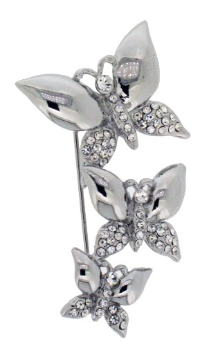 Silver Colour Metal Butterfly Brooch With Clear Crystals