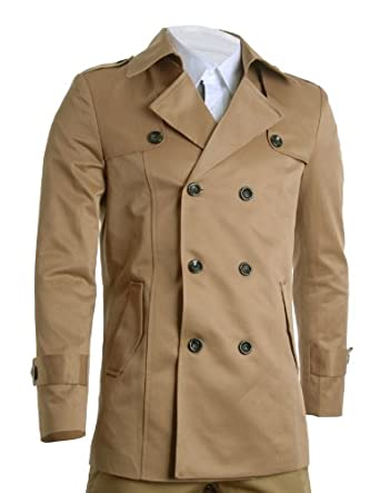 Buy FLATSEVEN Mens Slim Fit Designer Casual Trench Coat by FLATSEVEN