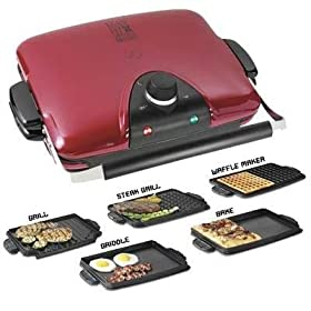 New Applica G5 Next Grilleration Red Dishwasher-Safe Removable Plates With Cool-Touch Handles