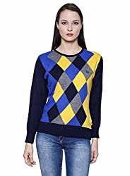 Leebonee Women's Acrylic Full Sleeve Navy Blue Sweater
