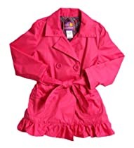 Pink Platinum Girls (4-6x) all weather trench jacket with belt & ruffles-fuchsia
