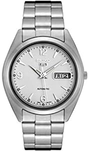 Seiko Men's 5 Automatic SNX121K Silver Stainless-Steel Automatic Watch with White Dial