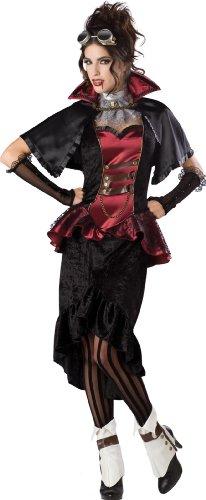 Steampunk Vampiress Costume, Black/Red