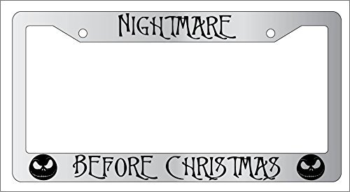 Chrome License Plate Frame Nightmare Before Christmas Auto Accessory EBSK AMA (Nightmare License Plate Frame compare prices)