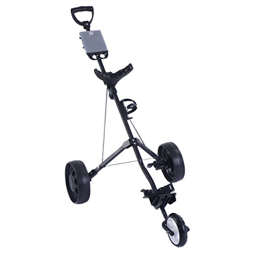 Kissemoji Foldable 3 Wheel Push Pull Golf Cart /Cup Holder Trolley Swivel Steel Light (Golf Trolley compare prices)