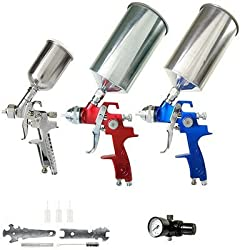 TCP Global® Brand HVLP Spray Gun Set - 3 Sprayguns with Cups, Air Regulator & Maintenance Kit for all Auto Paint, Primer, Topcoat & Touch-Up, One Year Warranty