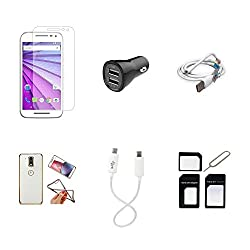 High Quality Combo of Moto G3 Temper Glass + Car Charger 2 USB + USB Data Cable + Attractive Back Cover (Transparent Back with Golden Border) + Android to Android Charging Cable