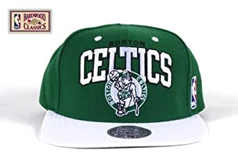 Boston Celtics Green White Two Tone Plastic Snapback Adjustable Plastic Snap Back Hat... by Mitchell & Ness