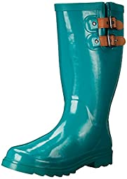 Chooka Women\'s Top Solid Rain Boot, Jungle Green, 8 M US
