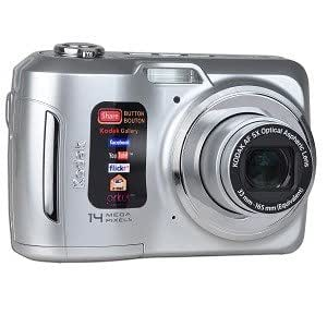 Kodak EasyShare C195 14MP 5x Optical/5x Digital Zoom HD Camera (Silver) - One Touch Sharing!