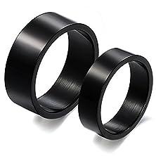 buy Men Women Classic Black Titanium Stainless Steel Couple Ring Wedding Engagement Promise High Polish Band