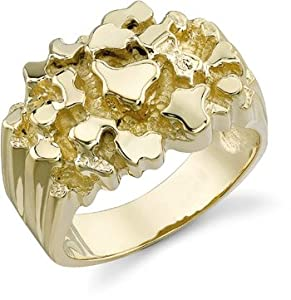 14k gold mens nugget ring jewelry