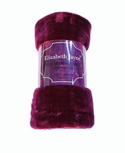 Fur Faux Blanket Bed Sofa Soft Aubergine 200x240cm by Elizabeth Jayne