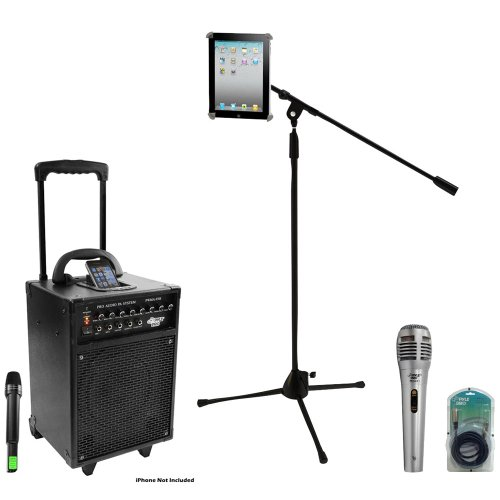 Pyle Speaker, Mic, Cable and Stand Package - PWMA930I 600 Watt VHF Wireless Portable PA Speaker System/Echo W/Ipod Dock - PDMIK1 Professional Moving Coil Dynamic Handheld Microphone - PMKSPAD1 Multimedia Microphone Stand With Adapter for iPad 2 (Adjustable for Compatibility w/iPad 1) - PPFMXLR15 15ft. XLR Male to XLR Female Microphone Cable