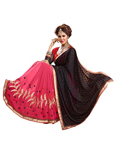 Lovely Look Latest collection of Sarees in Georgette & Jacquard Fabric & in attractive Black & Pink Color