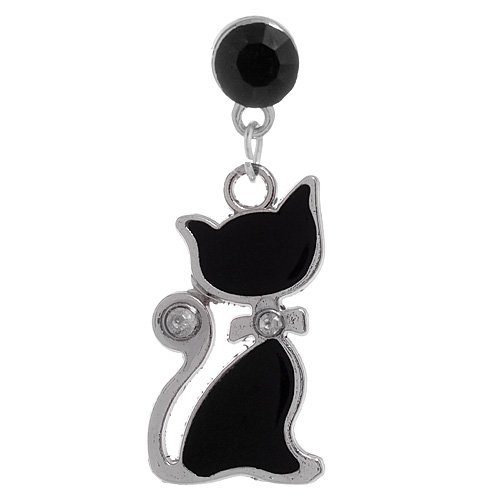 1X Cat Silhouette With Rhinestone Accents Dust Proof Dust Plug Iphone Speaker Plug Plugy