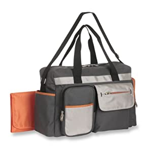 graco tangerine smart organizer system duffle diaper bag grey orange. Black Bedroom Furniture Sets. Home Design Ideas