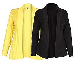 Ten on Ten Womens Pair of Yellow/ Black Long Shrug