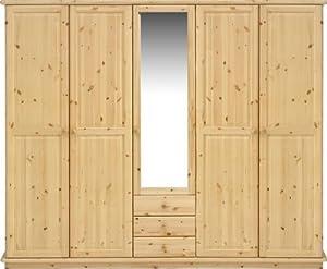 kleiderschrank schlafzimmerschrank mit spiegel kiefer massiv natur lackiert k che. Black Bedroom Furniture Sets. Home Design Ideas