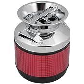 Pot Shape Cigarette Ashtray Ash Tray Silver Tone Lip Red