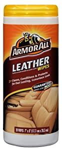 ArmorAll Leather Wipes Canister, 20 Wipes - Cleans, Conditions and Protects from Armor All