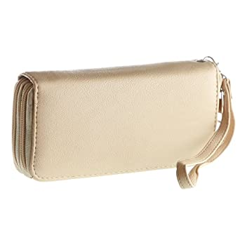 Patzino Classic Women's Zippered Wallet Purse Clutch w/ Multiple Card Slots, Cash Compartments and Zippered Coin Pocket (EEWA59Y) (Beige)