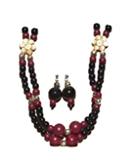 Kreasions Black and maroon Designer Beaded jewelry with Ear Rings For Women