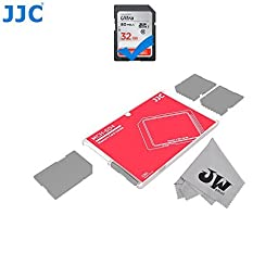 JW MCH-SD4CN Credit Card Size Durable Lightweight Portable Memory Card Case Holder Protector With Writable Label For 4 SD Cards + JW Cleaning Cloth