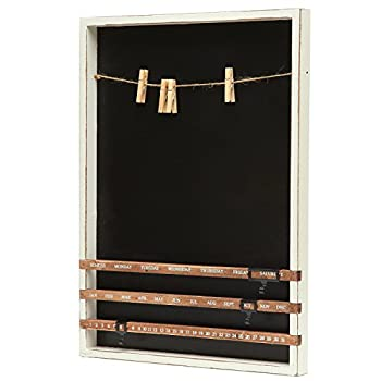 Wall Mounted Wood Frame Chalkboard w/ Vintage Wood Sliding Calendar & Clip Photo Holder w/ Twine