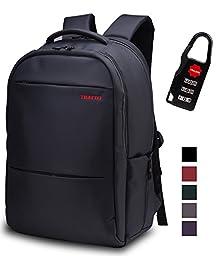 Lapacker Black Water Resistant Slim Lightweight Laptop Backpacks for Men Fits 13 15.6 inch Bags Backpack