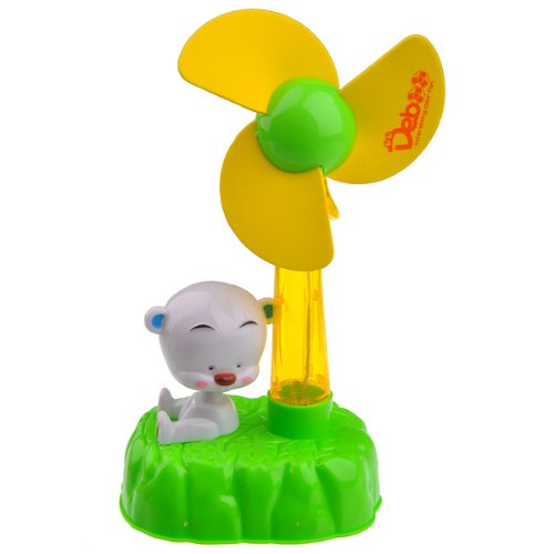 Foxnovo Lovely Baby Bear Usb Cartoon Fan Soft Fan Blade With Led Flashlight (Yellow Green)