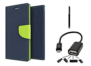 Online Street Premium Quality Flip Cover With Stylus Pen and OTG Cable For MicroMax Xpress 2 /E313 - (Blue Flip+ Stylus Pen + OTG)