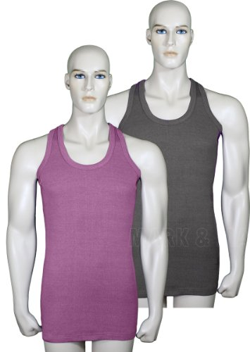 Mens Sleeveless Vests Pure Cotton Gym Top Summer Training Stretchable Pack of 2 (Large, Charcoal & Light Cherry)