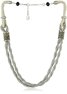 """Jessica Simpson """"Rope Items"""" Silver Tone Mesh Necklace"""